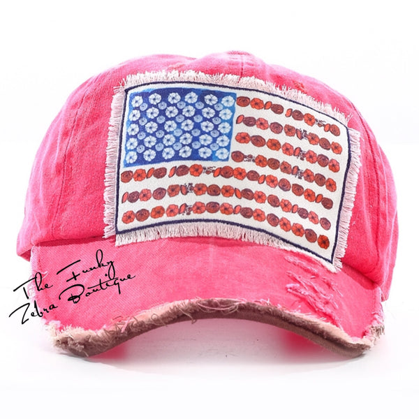 Girls Floral Flag on Distressed Red Hat