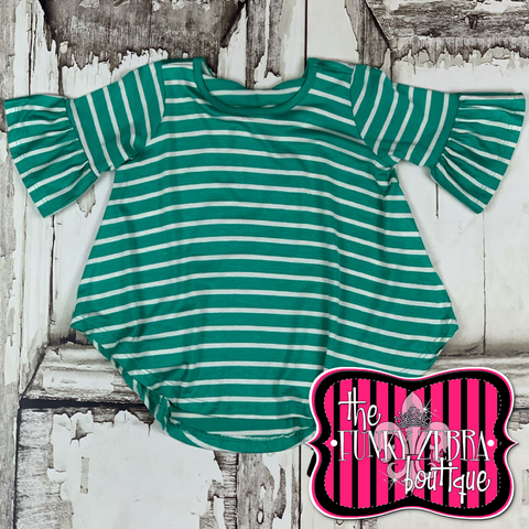 Toddler Mint Stripe Bell Sleeve Top 2T-4T