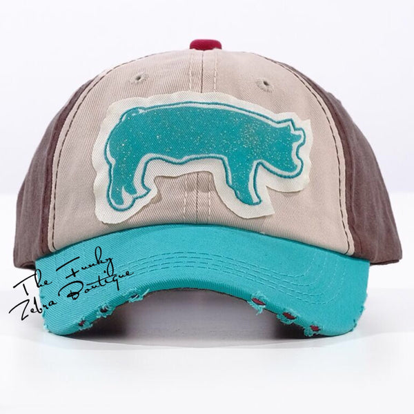 Girls Turquoise Sparkly Pig Distressed Hat