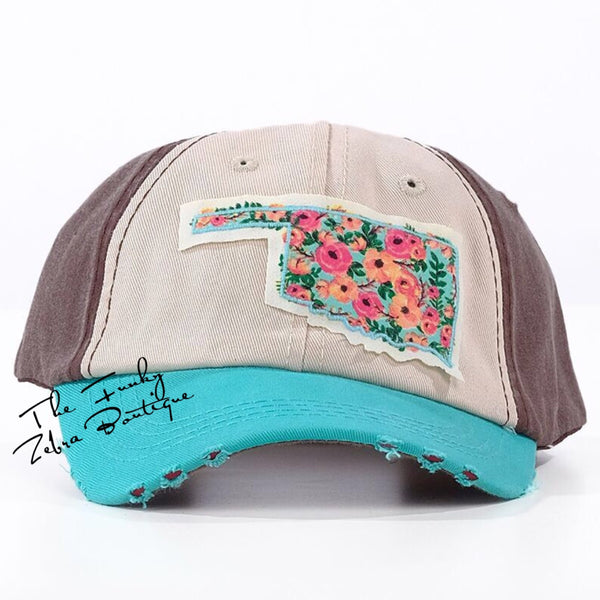 Girls Floral Oklahoma Patch Distressed Hat