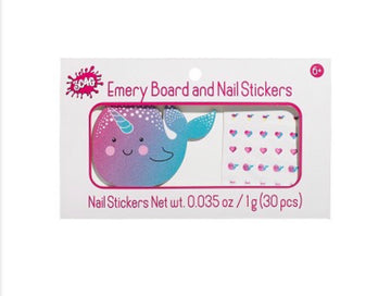 [SALE] Emery Board & Nail Stickers Narwhal