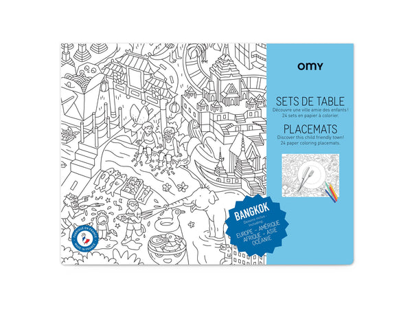 Omy coloring placemats exclusive bangkok collection