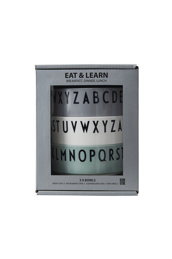 Design letters Breakfast Dinner Lunch bowls, GREEN