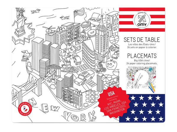 Omy coloring placemats usa