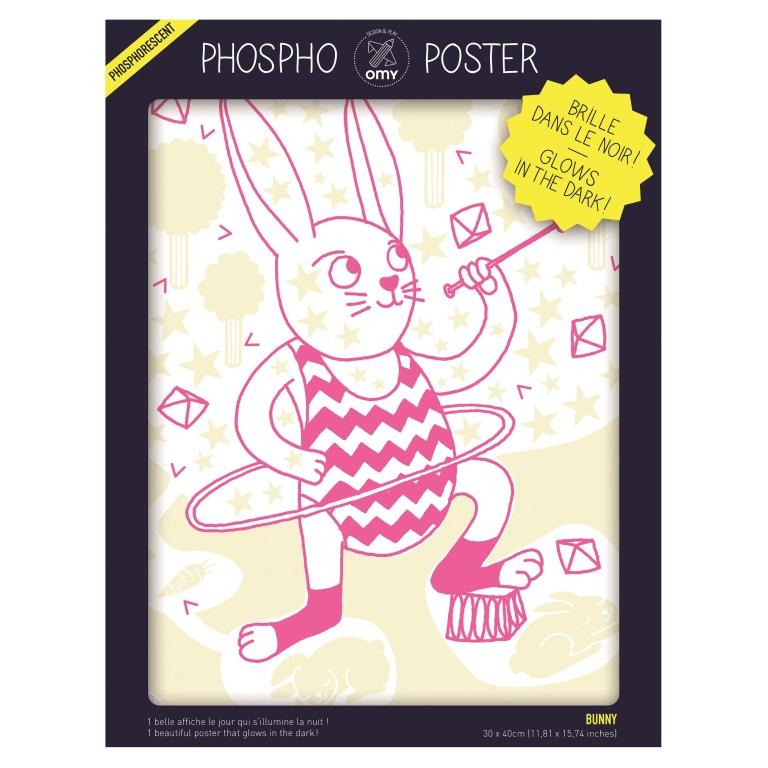 Omy glow in the dark posters bunny