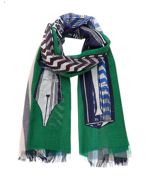 Inouitoosh spring summer collection scarves epistolaire green