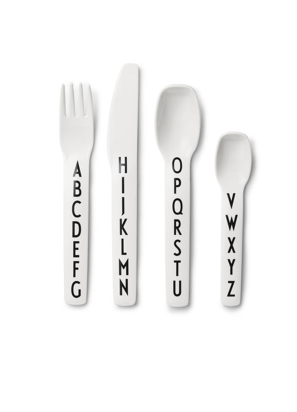 Design Letters Kids Cutlery, White