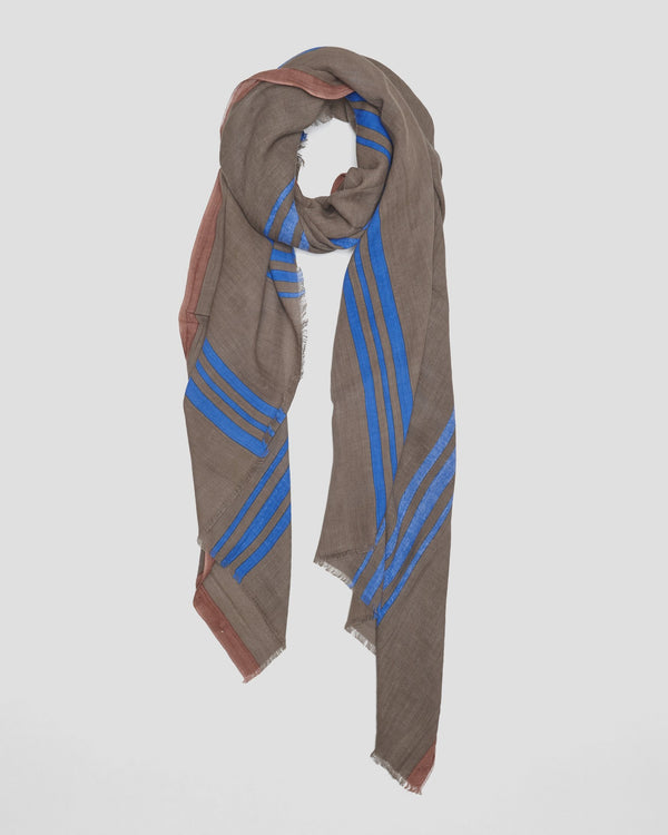 Cotton scarf, Lines, Blue, LOVAT&GREEN