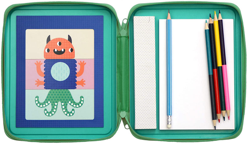 Petit Collage diy and games collection monsters design & draw travel activity kit