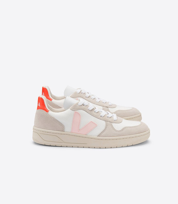 Veja exclusive collection sneakers v-10 b-mesh white petale orange fluo