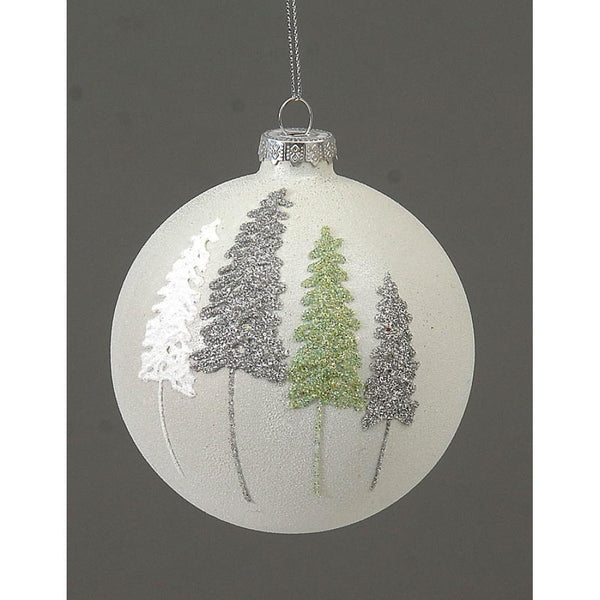VETUR BV 10cm White Glass Ball Ornament with colorful trees