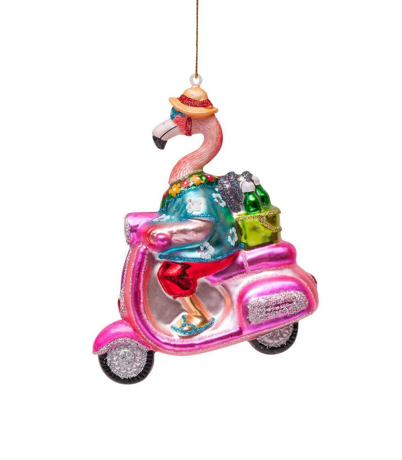 VONDELS Ornament glass flamingo on scooter