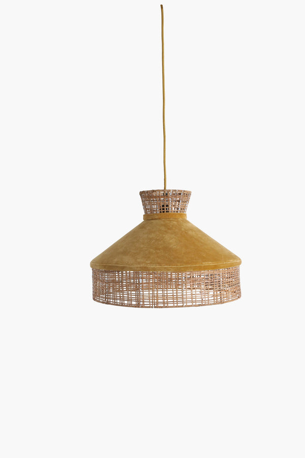 Raw Materials Velvet Lamp Shade - Mustard