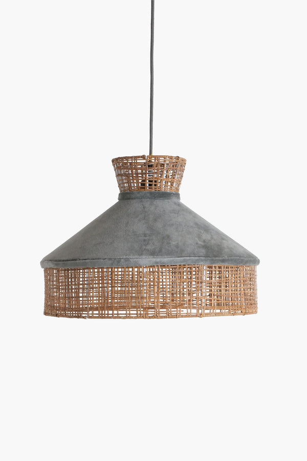 Raw Materials Velvet Lamp Shade - Silver Grey