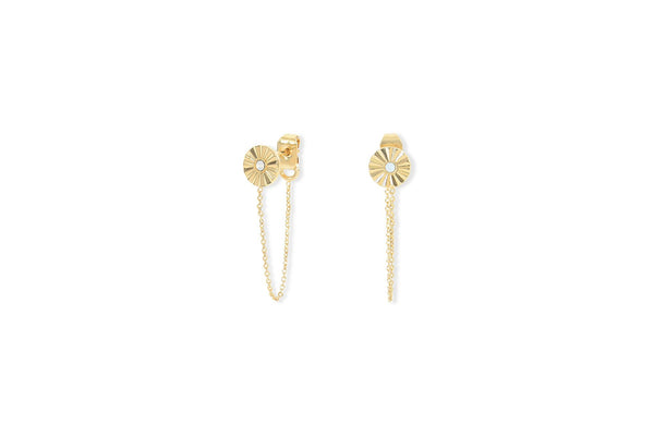 Chain Earrings Dahlia - White Opal