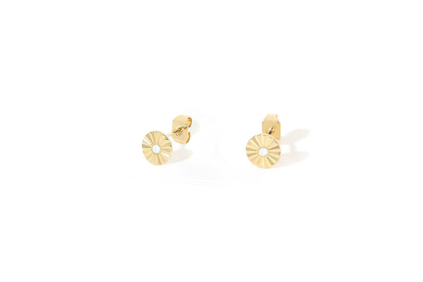 Stud Earrings Dahlia - White Opal