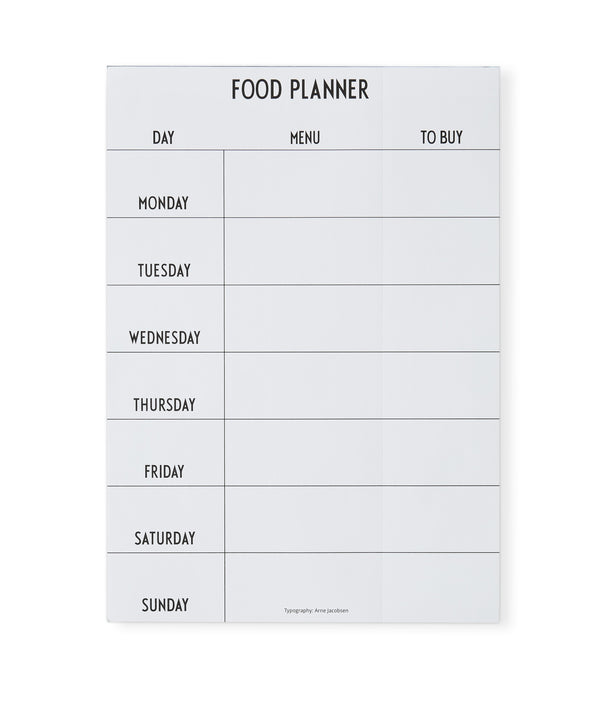 Design Letters Weekly Food Planner - White