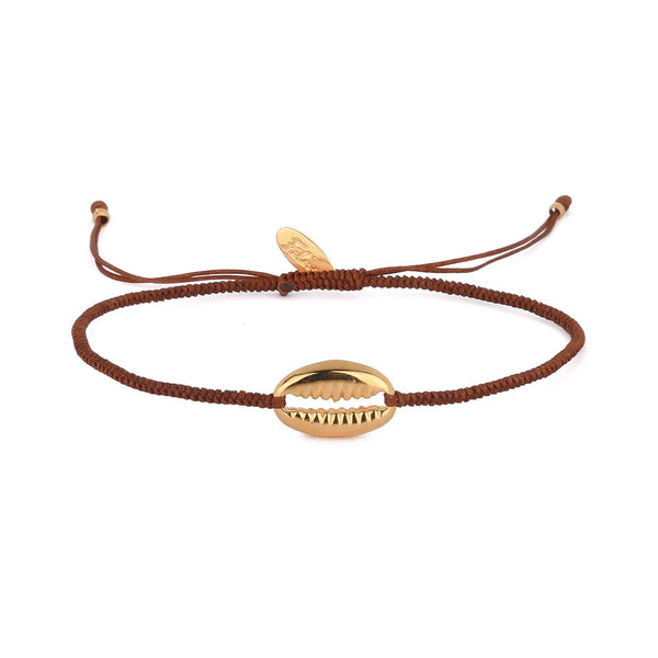 Nosy Be Shell Charm Bracelet - Coffee brown
