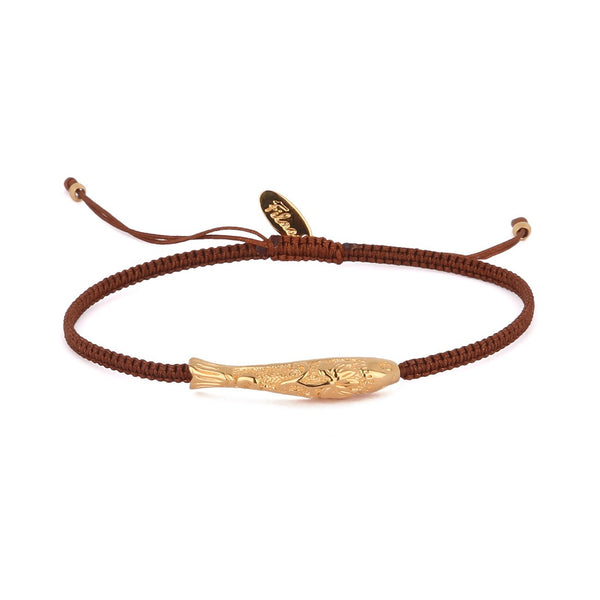 Zanzibar Fishcharm Bracelet-Coffee Brown