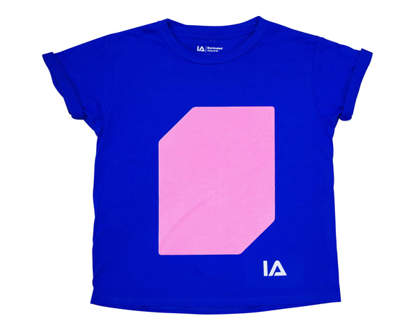 Illuminated Apparel Kids Interactive Glow In The Dark T-shirt in Royal blue & Pink Glow