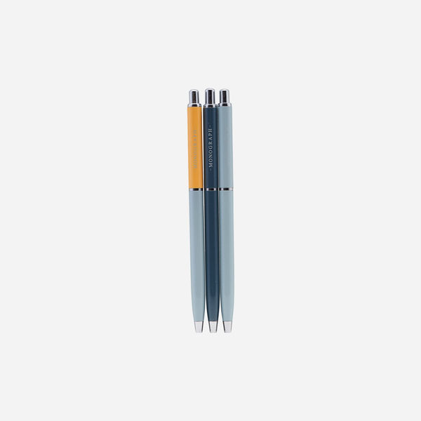 Monograph Set of 3 Ball Pens with Black Ink
