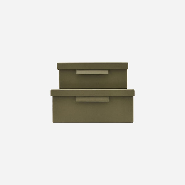 Monograph Set of Boxes with lids Army green