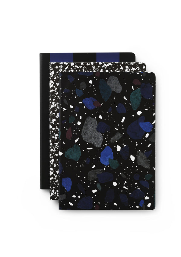 Normann Copenhagen Notebook Large 3 pcs Dark Print
