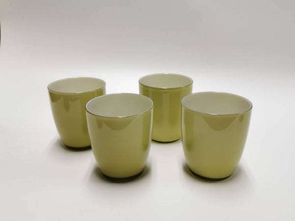 OFFICINE MURANO Set of 4 olive milk glass