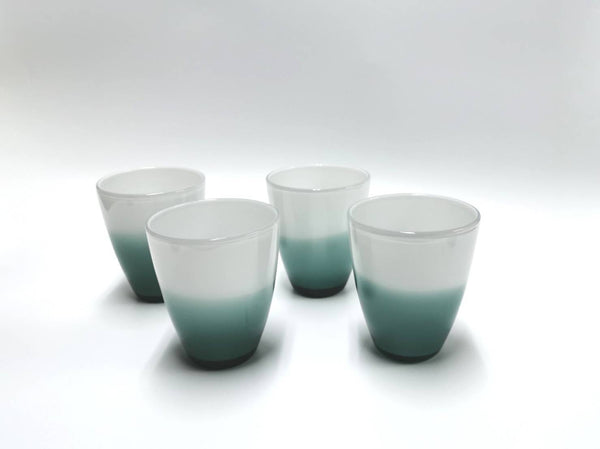OFFICINE MURANO Set of 4 two tone glass