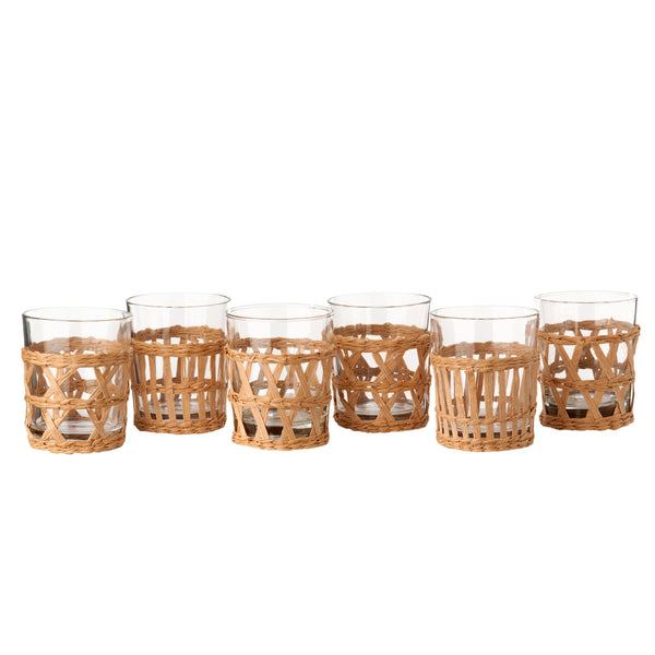 Pols Potten  Set of 6 Tumblers and Reed Holders - Natural