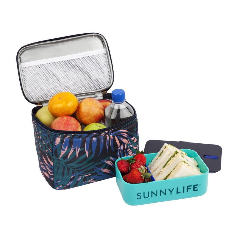 SUNNYLIFE exclusive collection lunch bag electric bloom navy blue