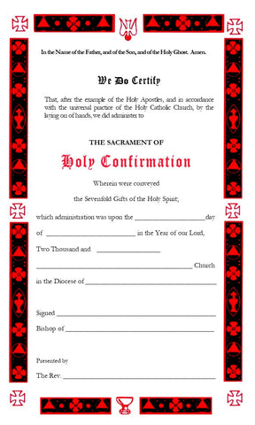 Holy Confirmation Certificate