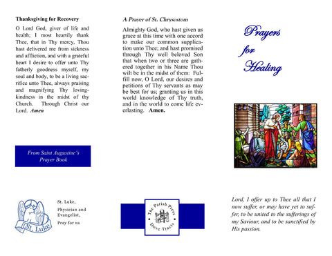 Prayers for Healing Tri-Fold 12 for $12.00