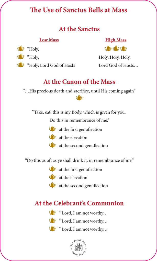Two Sided Preparation for Mass Card with Sanctus Bells use on the back  $5.00 each