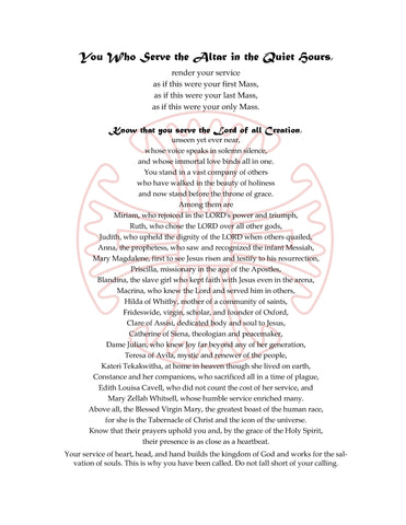 You who go to the Altar of God  (Print)  For Altar Guild Members  $3.00