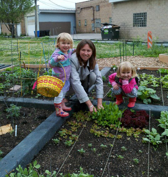 Jane in the garden with her kids