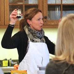 Jane teaching cooking class at Elawa Farm