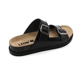 LEON 1220 Leather Sandal Clogs for Women - Black