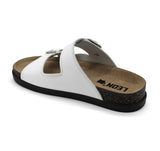LEON 1220 Leather Sandal Clogs for Women - White