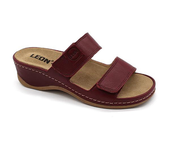 LEON 2020 Leather Sandal Clogs for Women - Dark Red