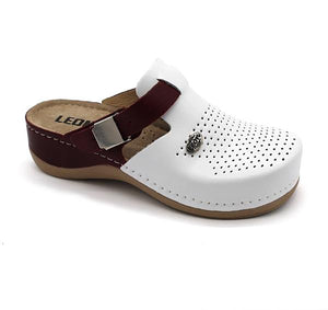 LEON 901 Leather Clogs for Women - Dark Red
