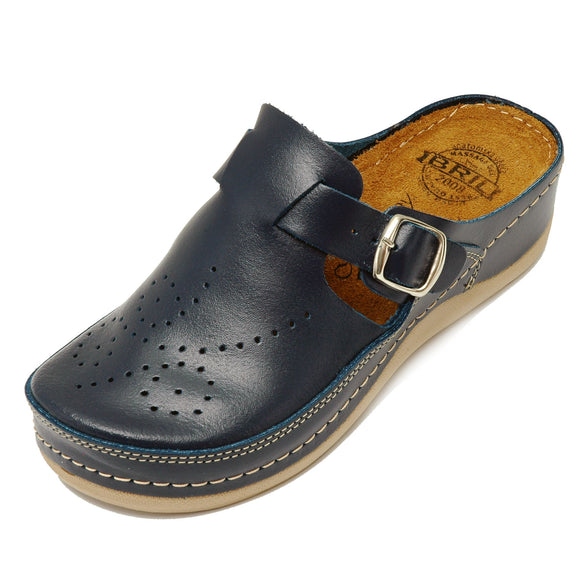 Dr Punto Rosso BRIL D145 Leather Clogs for Women - Blue