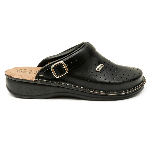 Dr Punto Rosso BRIL D53 Leather Clogs for Women - Black