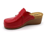 LEON 1001 Leather Clogs for Women - Red
