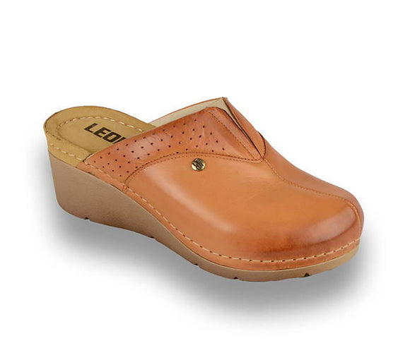 LEON 1002 Leather Clogs for Women -  Brown