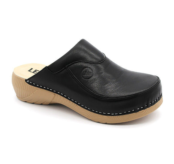 LEON 3100 Leather Clogs for Women - Black