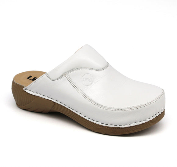 LEON 3100 Leather Clogs for Women - White