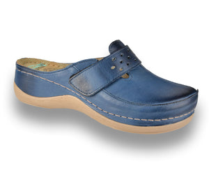 LEON 902 Leather Clogs for Women - Blue