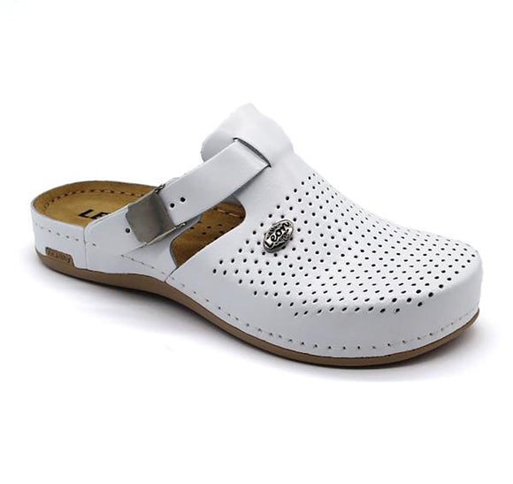 LEON 950 Leather Clogs for Women - White