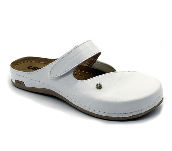 LEON 953 Leather Clogs for Women - White